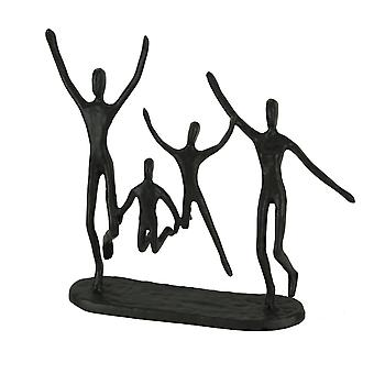 Cast Iron Happy Familly of Four Jumping for Joy Sculpture