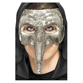 Mens Luxury Venetian Capitano Mask  Fancy Dress Accessory