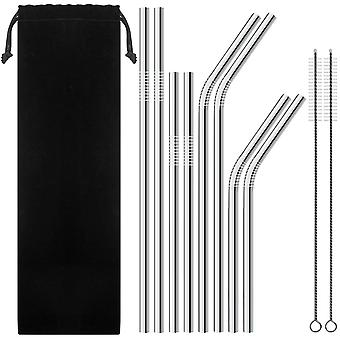 Set of 8 Stainless Steel Drinking Straws for 30oz 20oz Tumblers Cups Mugs - With 2 FREE Cleaning Brushes