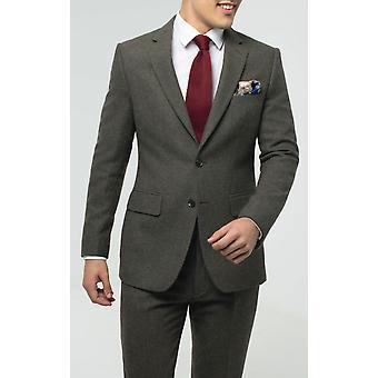 Dobell Mens Green Flannel Suit Jacket Regular Fit