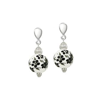 Eternal Collection Blossom Black Floral Porcelain Silver Tone Drop Screw Back Clip On Earrings