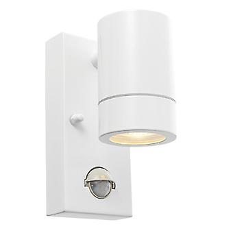 Saxby Lighting Palin Pir 1 Luz Al aire libre PIR Pared Brillo Blanco, Vidrio IP44 75442