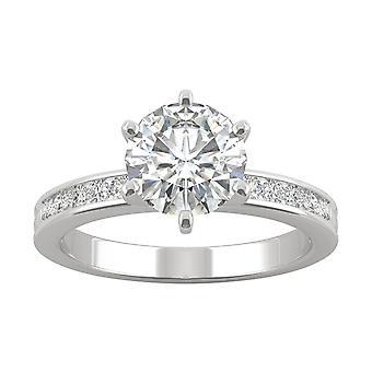 14K White Gold Moissanite by Charles & Colvard 7.5mm Round Engagement Ring, 1.70cttw DEW