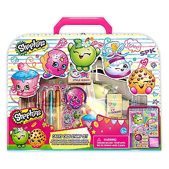 Stationery Set - Shopkins - Stamp and Carry Case New 066652