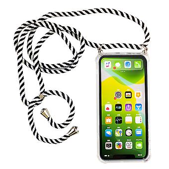 Phone Chain for Apple iPhone 11 Pro Max - Smartphone Necklace Case with Band - Cord with Case to Hang In Black