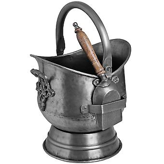 Hill Interiors Antique Steel Coal Bucket With Shovel