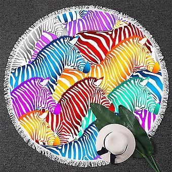 Multi Colored Zebras Beach Towel