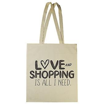 Love And Shopping Is All I Need - Canvas Tote Shopping Bag