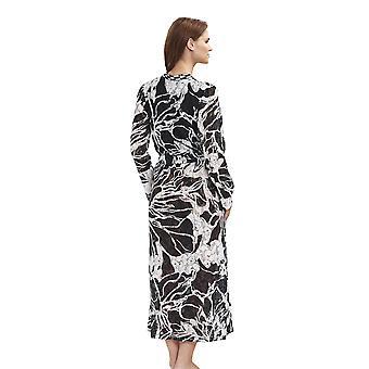 Féraud 3191230-11890 Women's Couture Black Ivory Pattern Robe Loungewear Baddressing toga