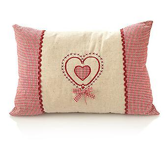 HanSen pine cushion country house style linen heart filled with pine shavings 40x27cm