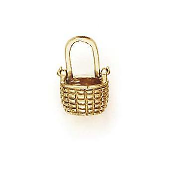 14K amarelo ouro minúsculo para meninos ou meninas cesta pingente - 1,5 gramas