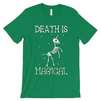 Døden er Megical Unicorn Skeleton Funny Halloween menns grønn T-skjorte