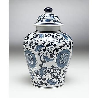 AA Importing 59726 Blue And White Ginger Jar With Lid