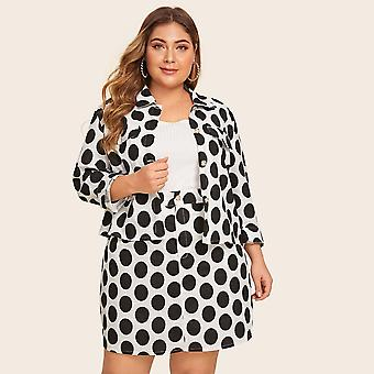 Plus button detail polka dot top with skirt