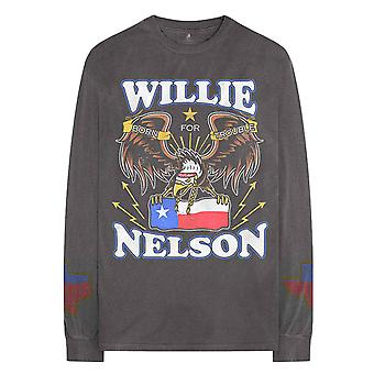 Willie Nelson T Shirt Texan Pride Official Long Sleeve Charcoal Grey Unisex