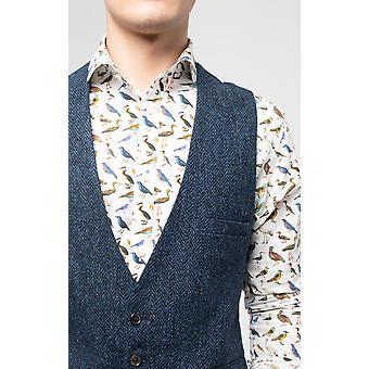 Scottish Harris Tweed Mens Blue/Black Herringbone Tweed Waistcoat Regular Fit 100% Wool Low Cut