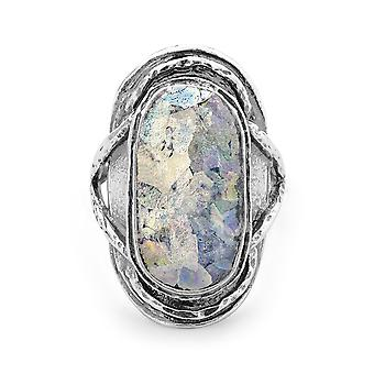 Oxidized Textured 925 Sterling Silver Ring Large Oval Roman Glass Jewelry Gifts for Women - Ring Size: 6 to 10
