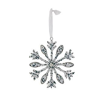 Light & Living Ornament 15cm Snowflake White And Green
