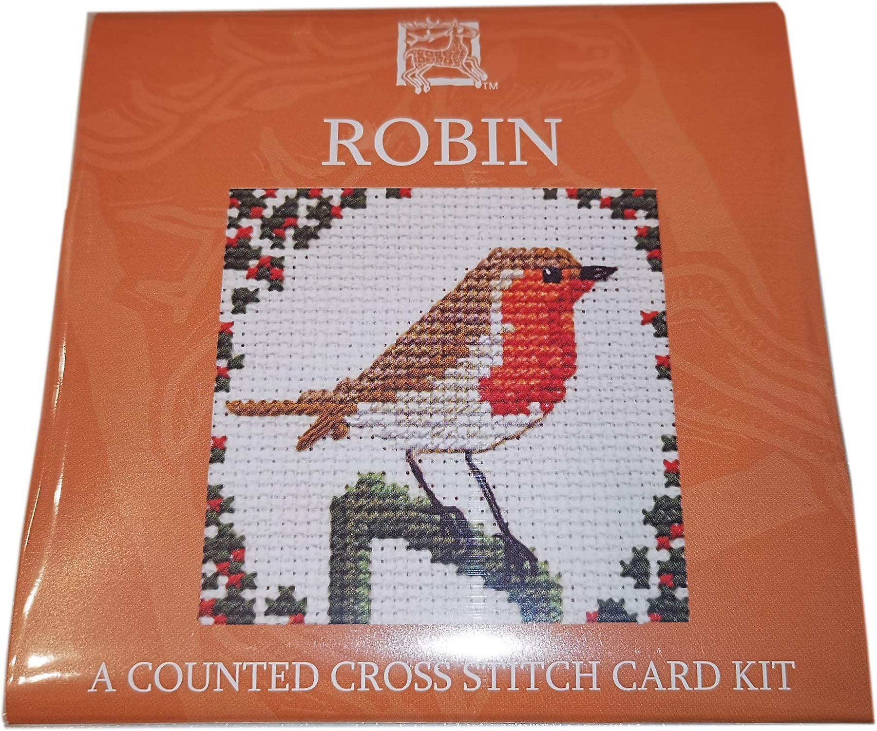 Textile Heritage Counted Cross Stitch Robin Card Kit