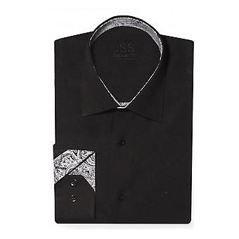 JSS Plain Black Slim Fit Shirt With Black & White Paisley Trim