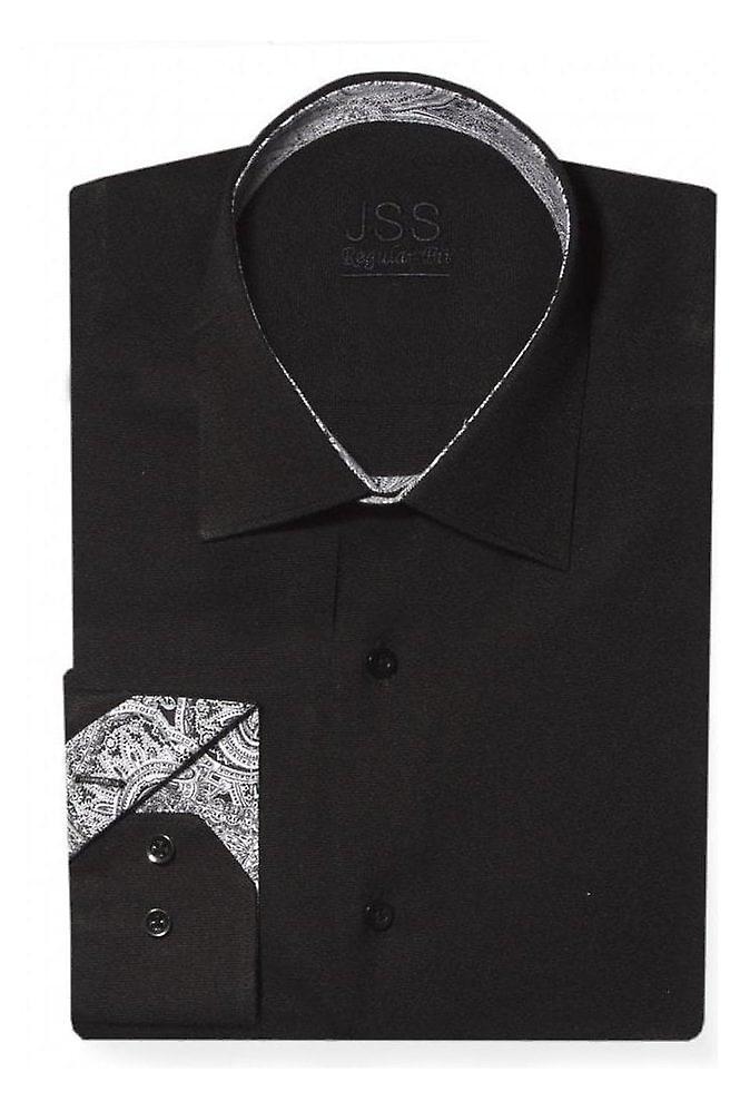 JSS Plain Black Slim Fit Shirt With Black & White Paisley Trim