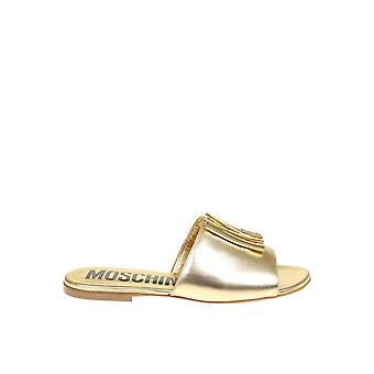 Moschino Ma28101c1amc0901 Women's Gold Leather Sandals