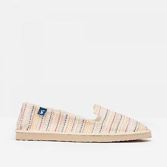 Joules Flipadrille señoras lona zapatos crema multi raya