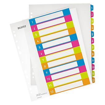 Leitz Multicolour Index Printable WOW PP A4+ tabs 1-12