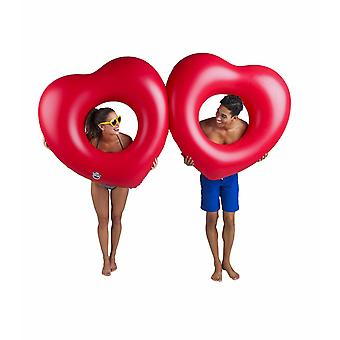 Bigmouth Inflatable Floating Lounge Bathring Two Hearts 220cm