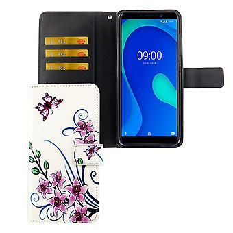 Wiko Y80 Caixa de telefone de bolso Capa protetora Flip case com bandeja de cartão Flor lotus