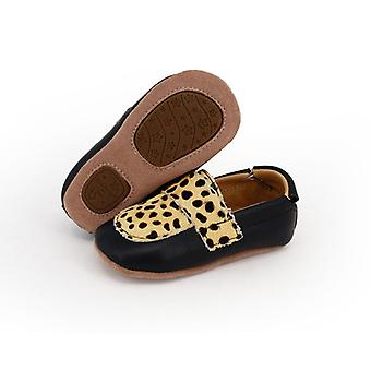 SKEANIE Leather Pre-Walker Loafers Shoes in Black with Spots