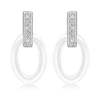 Tuscany Silver Women's Pendant Earrings in Silver Sterling 925 - with Cubic Zirconium and White Ceramics