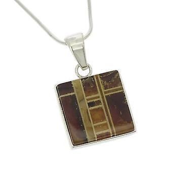 Nova Silver-Pendente in sterling silver - with square amber platelets