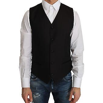 دولتشي وغابانا فستان من الحرير الأسود صدرية - TSH2853488