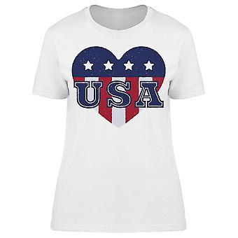 U S A Heart American Flag Colors Women's T-shirt