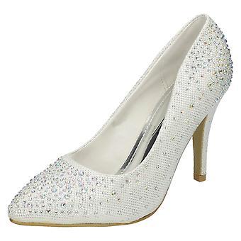 Las señoras Anne Michelle brillo acentuado del dedo del pie zapatos de corte de Diamante