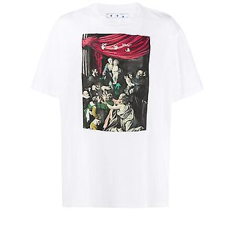 Off-white Omaa027e20jer0080110 Männer's weiße Baumwolle T-shirt