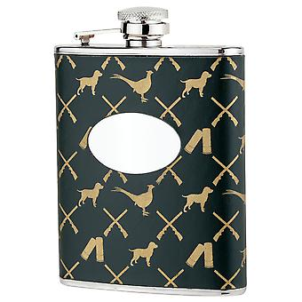Bisley Hip Flask 6oz Game Pattern leather stainless steel with funnel - gift box