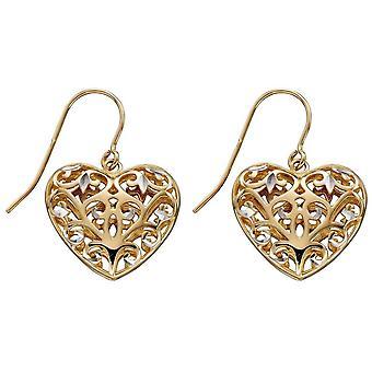 Elements Gold Filigree Heart Earrings - Gold/White Gold