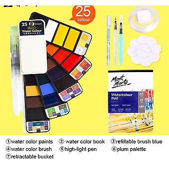 Superior 18/25/33/42 Solid Watercolor Paint Set With Water Brush Pen Foldable Travel Water Color Pigment