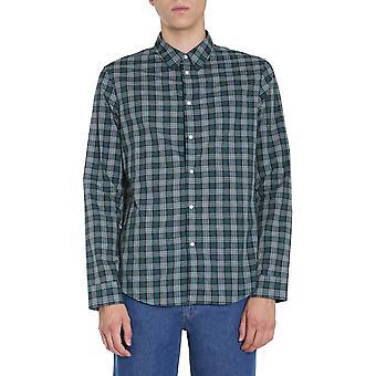 Kenzo Fa65ch2001lv53 Men'camisa de algodão verde