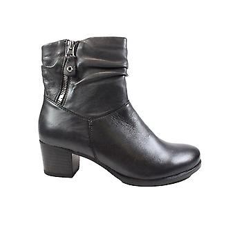 Caprice 25347 Dark Grey Leather Womens Heeled Ankle Boots