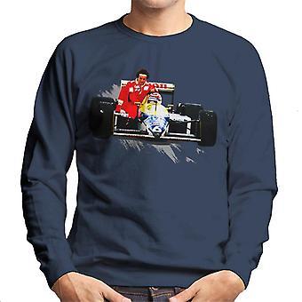 Motorsport Images Nelson Piquet Gives Alain Prost A Lift German GP Men's Sweatshirt