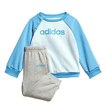 アディダス リニア ジョガー乳児幼児子供ジャンパー ズボン ジャージ セット ブルー/グレー