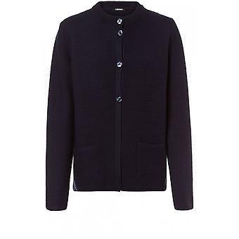 Olsen Navy Ribbed Tricot cardigan