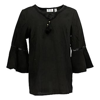 Denim & Co. Frauen's Crinkle Gauze Bell Slv Top /Lace Detail Schwarz A306777