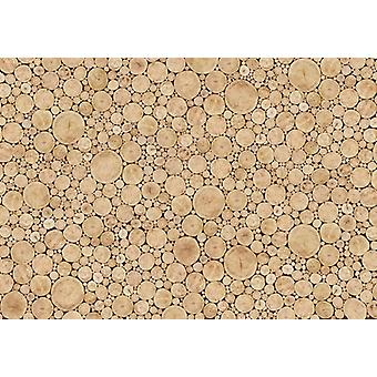Holzwand Tapete XL Deco Wall Fototapete Log Wall Collage 254 x 366 cm mit Kleber