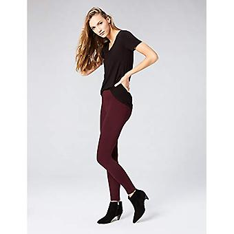 Brand - Daily Ritual Women's Seamed Front, 2-Pocket Ponte Knit Legging, Burgundy, Small Long