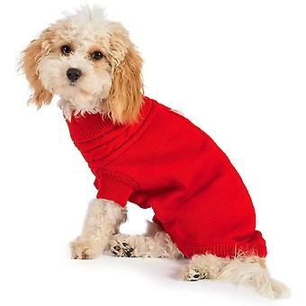 Ancol Muddy Paws Cable Knit Jumper (40cm) - Medium - Red
