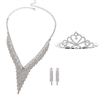 Set of 3 White Austrian Crystal Waterfall Collar Necklace 16
